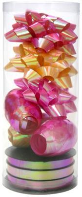 Набор для подарочной упаковки:бантики 3 шт.х9 см, лента 3 шт.х5 ммх20 м,лента 3 шт.х10 ммх20 м, ПВХ лента декоративная prym клетка цвет белый черный 15 мм 3 м