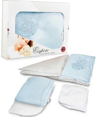 Комплект постельного белья в коляску 5 предметов Esspero Lui (мишки на луне/blue)