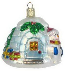Елочные украшения Winter Wings ЛЕДЯНОЙ ДОМ со снеговиком 10 см 1 шт стекло N07205 и и лажечников ледяной дом
