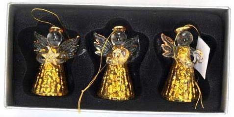 Елочные украшения Winter Wings АНГЕЛОЧКИ золотой 4,5 см 3 шт стекло N07738
