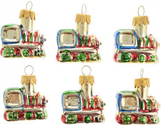 Елочные украшения Winter Wings Поезд разноцветный 4 см 6 шт стекло