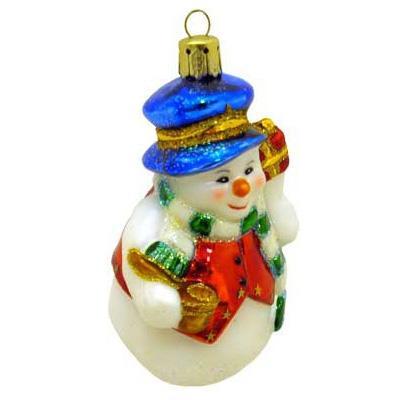 Украшение Winter Wings Снеговик в синей шапке 9 см 1 шт стекло N07119 pmk50xp sop 8