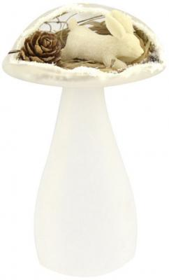 Украшение Winter Wings Заяц в грибочке белый 13 см 1 шт стекло N07855