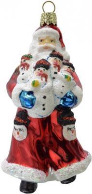 Украшение Winter Wings Дед мороз в красной шубе красный 10 см 1 шт стекло N07615