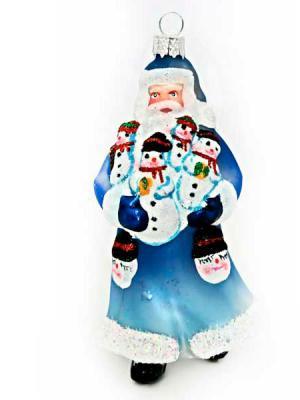 Купить Дед Мороз Winter Wings ДЕД МОРОЗ С ПОДАРКОМ синий 10 см 1 шт стекло N07610, Елочные украшения