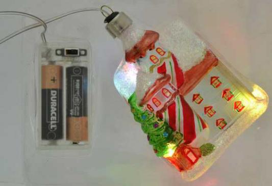 Елочные украшения Winter Wings Домик с LED 11 см 1 шт стекло N07722
