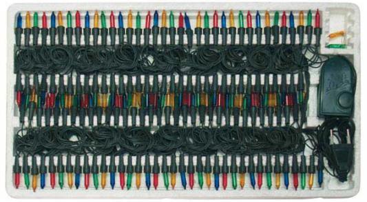 Гирлянда электрическая, 200 ламп, прозрачная, цветная, бегущие огни, с контроллером, 12 + 1,5 м N11014 цена