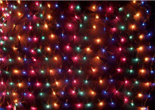 Гирлянда электрическая сетка, 200 ламп, разноцветные, бегущие огни, 2x0,8+1,5 м, с контроллером