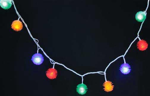 Гирлянда электрическая ЕЖИК, 30 супер ярких ламп, цветная, белый пр, с контроллером, 3,1 + 1,5 м