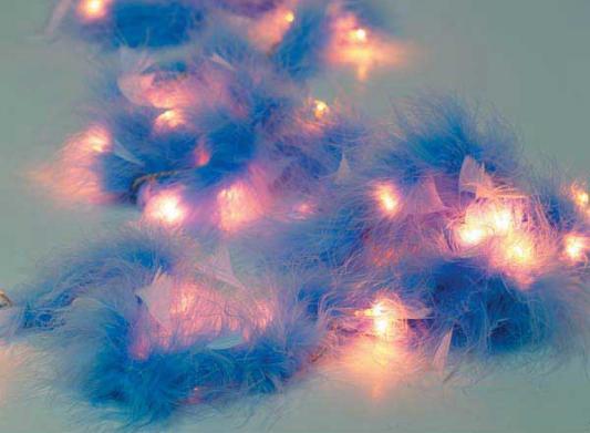 Гирлянда электрическая с перьями, 40 ламп, 195 см, синие с белым
