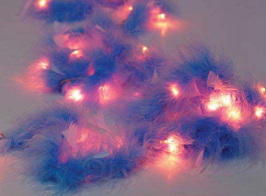 Гирлянда электрическая с перьями, 40 ламп, 195 см, фиолетовые с белым