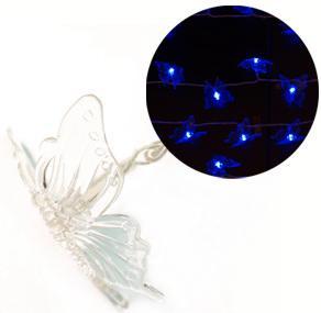 Гирлянда электрическая бабочка с супер-яркими лампами, 50 ламп, синие, с контроллером, 4,5 + 2,05 м