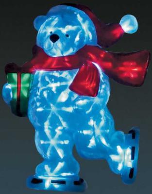 Гирлянда электрическая панно МИШКА НА КОНЬКАХ, 15 ламп LED, 36x7x50 см, 5 м, преобразователь напряже