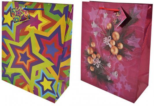 Пакеты подарочные бумажные ламинированные, 260x324x127 мм, с лазерной печатью, 5 вида пакет декоративный вира м всадник бумажный 10 5 7 5 5см