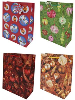 Пакет подарочный бумажный ламинированный, 260х324х127 мм, с лакировкой, 6 видов пакет подарочный бумажный s1535 для мальчиков 6 видов 32x26x10 см в ассортименте