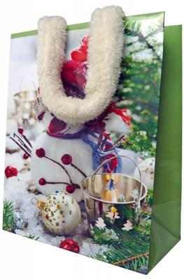 Пакет подарочный бумажный ламинированный, 180х230х98 мм, с аппликацией, с меховыми ручками пакет подарочный бумажный ламинированный 180х230х98 мм с блестящей крошкой с аппликацией