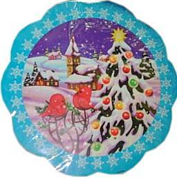 Наклейка Winter Wings панно Снегири на елке, прозрачная цветная 29х29 см N09089