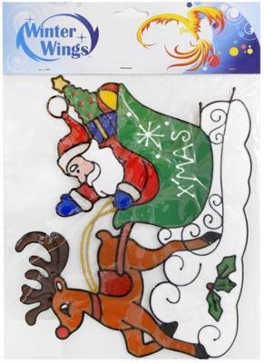 Наклейка Winter Wings Санта с оленем 31х27 см N09201