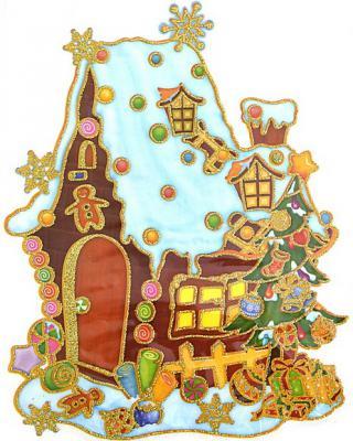 Наклейка Winter Wings панно Домик с елкой, прозрачная цветная с блестящей крошкой 20x26 см N09215