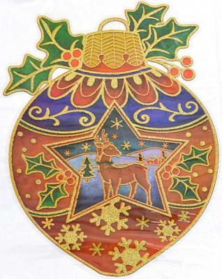 Наклейка панно ШАР, прозрачная цветная с блестящей крошкой, 20х26 см , ПВХ|1 цена