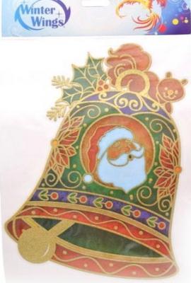 Наклейка Winter Wings панно Колокольчик, прозрачная, с блестящей крошкой 20x26 см N09220 цена