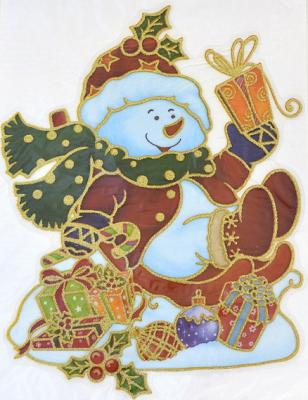 Наклейка Winter Wings панно Снеговик, прозрачная, с блестящей крошкой 20x26 см N09221