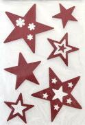 Наклейка Winter Wings панно Звездочки, прозрачная, цветная с блестящей крошкой 20х30 см N09222