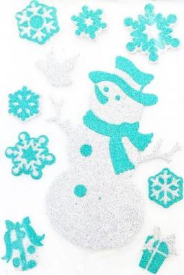 Наклейка Winter Wings панно Снеговик, прозрачная цветная с блестящей крошкой, 20х30 см