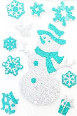 Наклейка Winter Wings панно Снеговик, прозрачная цветная с блестящей крошкой, 20х30 см подсвечник winter wings снеговик с цветком 11х7х11 см n160491