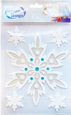 Наклейка Winter Wings панно Снежинки, прозрачная цветная с блестящей крошкой 15х20 см N09225