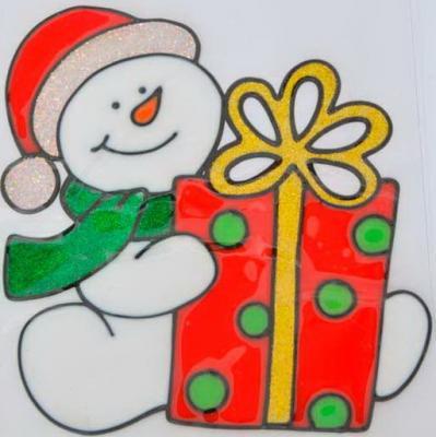 Наклейка Winter Wings Снеговик с подарком 21x16,5 см подсвечник winter wings снеговик с цветком 11х7х11 см n160491
