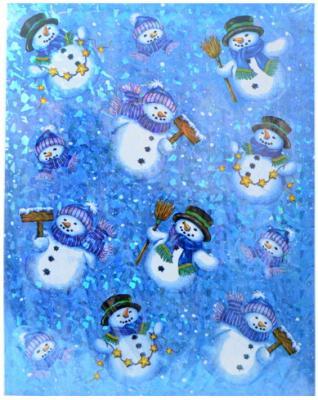 Наклейка декоративная на стекло СНЕГОВИКИ, 30*38 см, с лазерной печатью, ПВХ