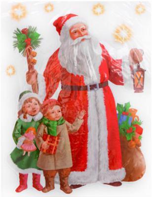 Наклейка Winter Wings панно Дед Мороз и дети 29.5х40 см N09277 наклейка панно дед мороз и снегурочка 29 5 40 см пвх