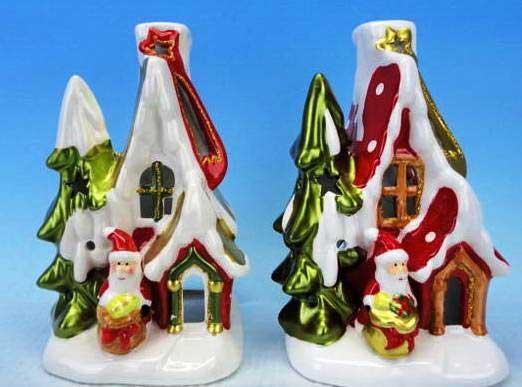 Подсвечник ДОМ ДЕДА МОРОЗА, со свечой, 11 см, керамика парики veld co парик деда мороза
