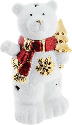 Подсвечник Winter Wings Мишка с елкой, керамика, светящийся 13 см N161686 подсвечник лось пингвин и мишка 13 см