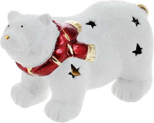 Подсвечник Winter Wings Мишка полярный в шарфе, керамика, светящийся 16 см N161689 подсвечник лось пингвин и мишка 13 см