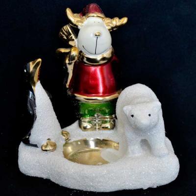 Подсвечник декоративный ЛОСЬ, ПИНГВИН И МИШКА, керамика, 1 шт. в коробке, 13 см. подсвечник лось пингвин и мишка 13 см