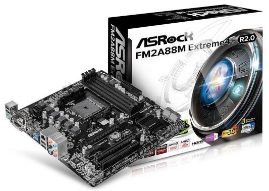 Мат. плата для ПК ASRock FM2A88M Extreme4+ R2.0 Socket FM2+ AMD A88X 4xDDR3 2xPCI-E 16x 1xPCI-E 1x 8xSATAIII mATX Retail