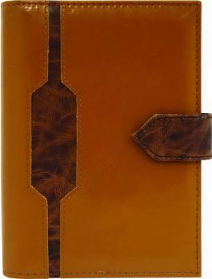 Бизнес-органайзер недатированный Index кожзам,на магнитной кнопке,со вставкой,св.коричневый/темн.коричневый15х10,5см|2 искусственная кожа IBO115/5*
