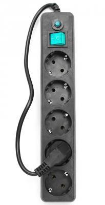 Сетевой фильтр Гарнизон EHLB-4 5 розеток 0.5 м черный