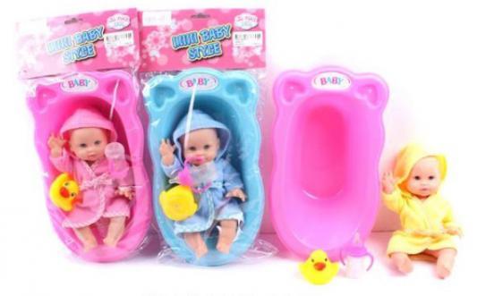 Пупс Shantou Gepai 0804-13 в ванночке с аксессуарами