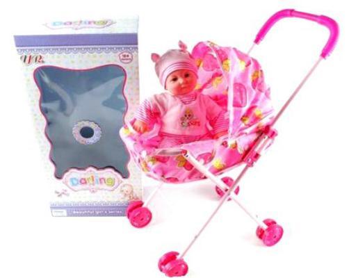 Кукла Shantou Gepai Младенец девочка в коляске 35 см GF14055 кукла весна 35 см
