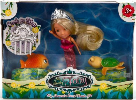 Игровой набор Shantou Gepai кукла Мона - Русалка с морскими друзьями 4 предмета 681051