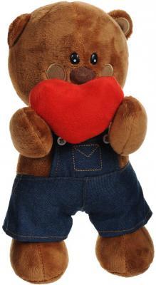 """Мягкая игрушка медведь Fluffy Family Мишка """"Люблю, но стесняюсь"""" плюш коричневый 25 см"""