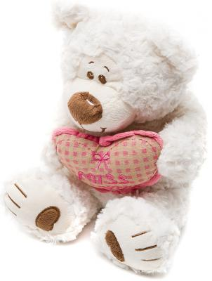 Мягкая игрушка медведь Fluffy Family Мишка Митя с сердцем текстиль белый 28 см