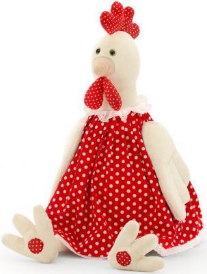 Мягкая игрушка курица Orange Курочка Даша текстиль бежевый красный 18 см 4567