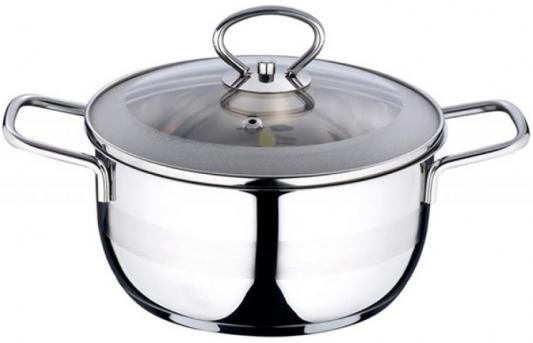 Кастрюля Wellberg WB-08045 24 см 5.6 л нержавеющая сталь чайник wellberg wb 5860 серебристый 3 л нержавеющая сталь