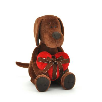 Мягкая игрушка собака ОРАНЖ Пёс Барбоська с сердцем плюш коричневый 25 см 092943303027