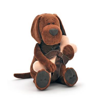 Мягкая игрушка собака ОРАНЖ Пёс Барбоська с косточкой плюш коричневый 30 см 092943303027