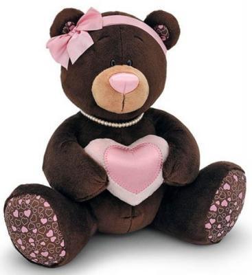 Мягкая игрушка медведь Orange девочка Choco&Milkс с сердцем плюш коричневый 30 см C003/25